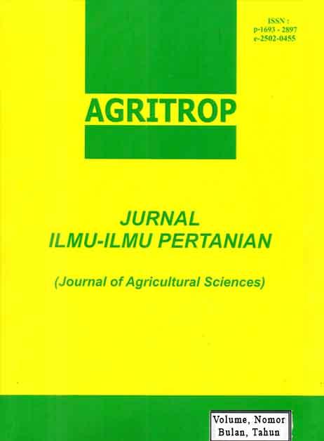 Agritrop Jurnal Ilmu Ilmu Pertanian Journal Of Agricultural Science